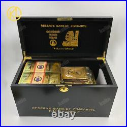 1000pc Zimbabwe 100 Trillion Dollars Gold Banknote with certificates in wood box