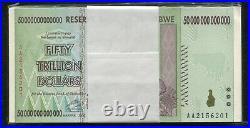 100 Consecutive 2008 50 Trillion Dollars Zimbabwe Aa P90 Unc 100 Trillion Series