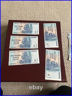 100 TRILLION / 100 TRILLION DOLLAR ZIMBABWE CURRENCY 2008 / UNC NOTE  5 piece