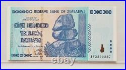 100 Trillion Dollars Zimbabwe-reserve Bank Pcgs Perfect New 70 Ppq