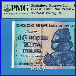 100 Trillion Zimbabwe Dollars Banknote 2008 P91 58 PMG Certified Authentic aUNC