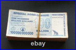100 X 100 Billion Special Agro-Cheques Zimbabwe Dollar Notes