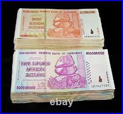 100 Zimbabwe Banknotes-50 x 50 billion & 500 million dollars-2008/AA or AB