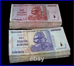 100 Zimbabwe Banknotes- 50 x 5 & 10 Billion Dollars-paper money currency