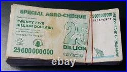 100 x ZIMBABWE 25 BILLION DOLLARS SPECIAL AGRO-CHEQUE, 15.05.2008, gebraucht / u