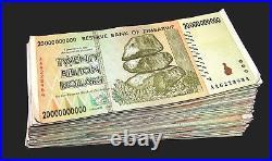 100 x Zimbabwe 20 Billion Dollar banknotes-full currency bundle