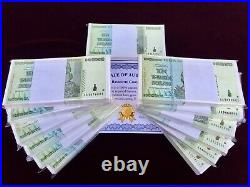 100x 10 Trillion Dollar Zimbabwe Aa 2008 P88 Consecutive Numbers Coa Certificate