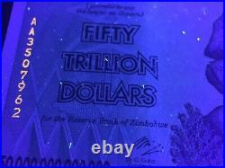 10X Authentic 50 Trillion Dollars AA 2008 Serie Zimbabwe Zim UNC Certificate COA