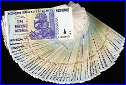 10 Billion Zimbabwe Dollars x 100 Banknotes AA AB 2008 Bundle 100PCS Currency