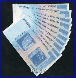 (10) Consecutive 2008 100 Trillion Dollars Reserve Bank Of Zimbabwe, Aa P-91 Unc