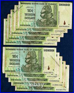 10 Trillion Zimbabwe Dollars x 10 Banknotes AA 2008 Authentic Currency Lot 10PCS