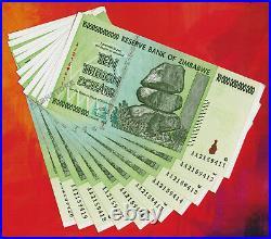 10 Trillion Zimbabwe Dollars x 10 Banknotes AA 2008 Consecutive UNC Uncirculated