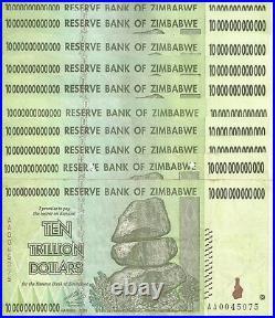 10 X ZIMBABWE 10 TRILLION DOLLARS CIRCULATED AA/2008 / $100 Trillion Series