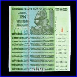 10 x Zimbabwe 10 Trillion Dollar Banknotes-Uncirculated/Consecutive