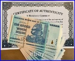 10x Authentic Zim Zimbabwe 100 Trillion Dollars Bond Aa 2008 Unc Coa Certificate