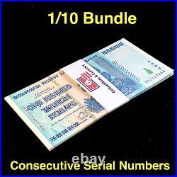 1/10TH BUNDLE (10 PCS) 100 TRILLION DOLLAR ZIMBABWE AA 2008 SERIES P91, With COA