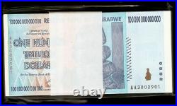 1/4 Bundle 25 Pcs Zimbabwe 100 Trillion Dollars 2008 AA 10 20 50 Series UNC Note