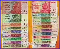1 to 20 Trillion Zimbabwe Dollars Set of 21 Banknotes with 10 Trillion 100 Million