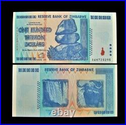 1 x Zimbabwe 100 Trillion dollar banknote-2008/AA /XF to AUNC currency