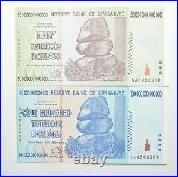 2008 100 & 50 TRILLION Dollar Zimbabwe Unc Notes Set 2 Authentic