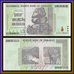 2008 50 TRILLION DOLLARS ZIMBABWE BANKNOTE, AA P-90 Used (XF-AU) 100 SERIES