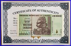 2008 50 Trillion Dollars Reserve Bank Zimbabwe Aa Series P90 Unc Coa Certificate