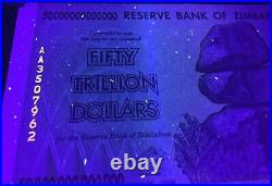 2008 Authentic 50 Trillion Dollars Zimbabwe Aa P90 Gem Unc Uv Passed Certificate