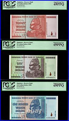 2008 ZIMBABWE 20-100 Trillion Dollars PCGS 69 PPQ AA P-91 Superb Gem New UNC Set