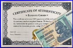 2008 Zimbabwe 100 Trillion Dollar Bond Aa Uv Pass Certificate Authentic Coa