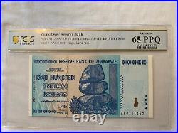 2008 Zimbabwe Reserve/Bank 100 Trillion Dollars PCGS 65 PPQ P-91 Gem UNC