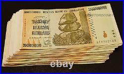 20 Billion Zimbabwe Dollars x 50 Banknotes AA AB 2008 Authentic Currency Qty 50