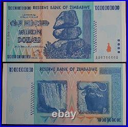 21x Zimbabwe 100 Trillion Dollars Uncirculated 2008 Aa Over 50 In Stock