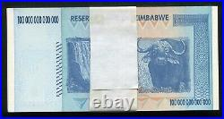 (25) Consecutive 2008 100 Trillion Dollars Reserve Bank Of Zimbabwe, Aa P-91 Unc