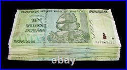 25 x Zimbabwe 10 Trillion Dollar banknotes- paper money currency 1/4 bundle