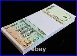 25 x Zimbabwe 20 Billion Dollar banknotes- AA/2008/UNC 1/4 bundle