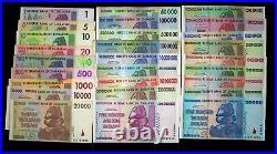 27 Zimbabwe Banknotes FULL Set, $1 dollar- $100 Trillion dollars-paper currency