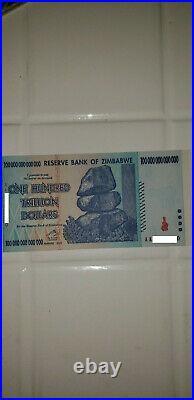 2 Consecutive 2008 100 Trillion Dollars Reserve Bank Of Zimbabwe, Aa P-91 Unc