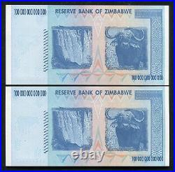 (2) Consecutive 2008 100 Trillion Dollars Reserve Bank Of Zimbabwe, Aa P-91 Unc
