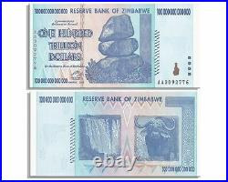 2 X Zimbabwe 100 Trillion Dollar Note, AA, 2008 series, UNCIRCULATED