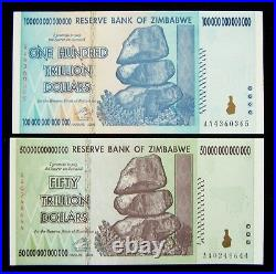 2 Zimbabwe banknotes-1 x 50 & 100 Trillion dollars-2008/AA / authentic currency
