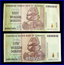 2 pcs x Zimbabwe 50 Trillion Dollar banknotes/AA/2008-collectible currency