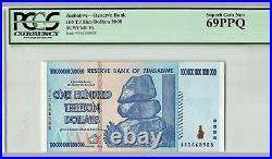 2 x Authentic ZIMBABWE 100 Trillion Dollars, P-91, 2008, PCGS 69, Superb Gem UNC