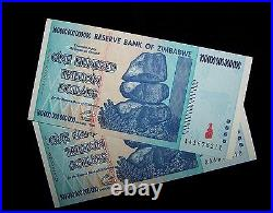 2 x Zimbabwe 100 Trillion Dollar banknotes-About Uncirculated- money currency