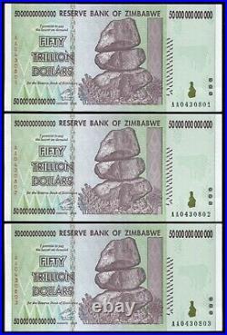 3 Consecutive 2008 50 Trillion Dollars Zimbabwe, Aa P-90 Unc 100 Trillion Series