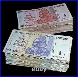 400 Zimbabwe Banknotes- 200 x 5 & 10 Billion Dollars-paper money currency