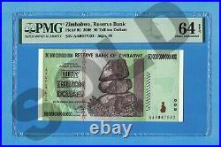 50 Trillion Dollars Zimbabwe 2008 P90 PMG 68 EPQ Uncirculated Authentic AA00 UNC