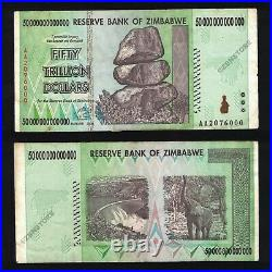 50 Trillion Dollars Zimbabwe Bank Note AA 2008 Authentic Circulated Condition