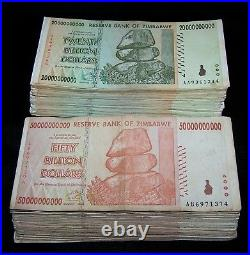 50 Zimbabwe Banknotes-25 x 20 & 50 Billion Dollars AA/AB 2008 / circulated