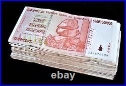50 x Zimbabwe 50 Billion Dollar banknotes-AA/AB 2008/circulated currency