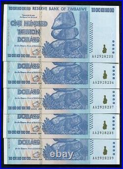 (5) Consecutive 2008 100 Trillion Dollars Reserve Bank Of Zimbabwe, Aa P-91 Unc
